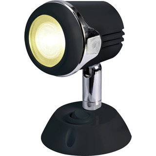 Articulating LED reading spot w/ switch, black/chrome, 12/24V, warm white