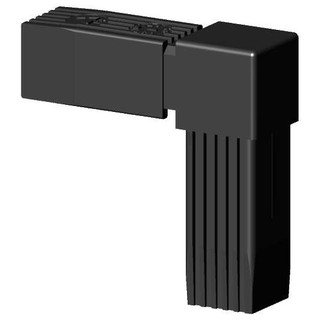 Connector (90 degree angle) for square tube; Polyamid 6, black, onepiece