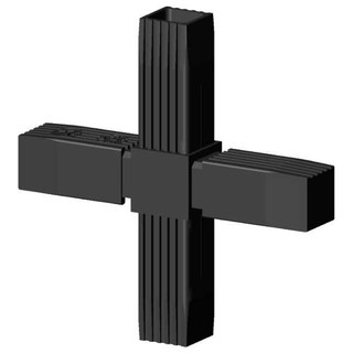 Connector cross 2D, for square tube; Polyamid 6, black,...