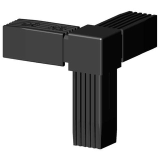 Connector (90 degree angele 3D) for square tube; Polyamid 6 black, onepiece
