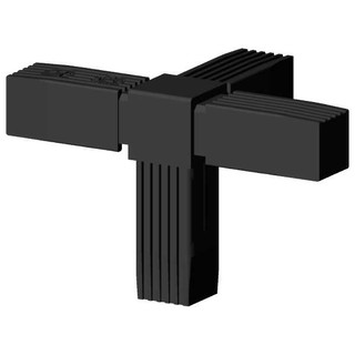 Connector (T- connector, 4 way) for square tube; Polyamid 6, black, one piece