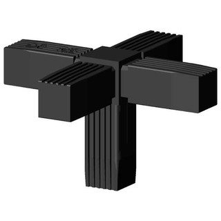 Connector (cross , 3D) for sqare tube; Polyamid 6, black, onepiece