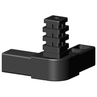 Connector, 3-arm with 24 teeth hinge for sqare tube; Polyamid 6, black